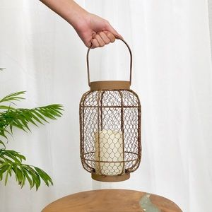 2pc. Rustic Brown Metal Lanterns Chicken Wire Body